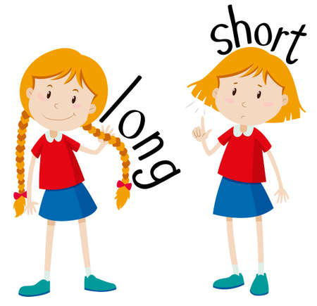 girl short hair: Opposite adjectives long and short illustration Illustration