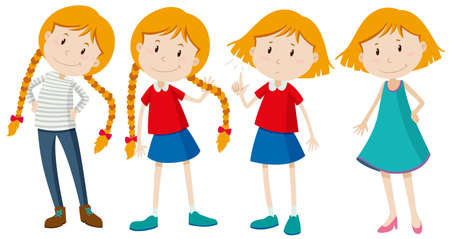 cartoon school girl: Little girls with long and short hair illustration Illustration