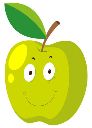 green face: Green apple with happy face illustration