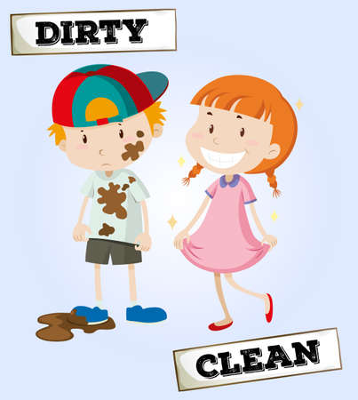 and opposite: Dirty boy and clean girl illustration