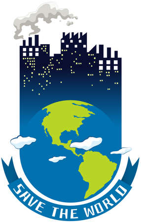 ozone: Save the world theme with earth and buildings illustration Illustration