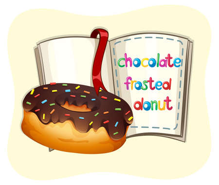 frosted: Chocolate frosted donut and a book illustration