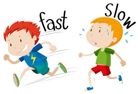 Opposite adjectives fast and slow illustration Stock Illustratie
