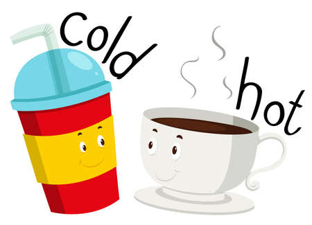 cold coffee: Opposite adjective cold and hot illustration