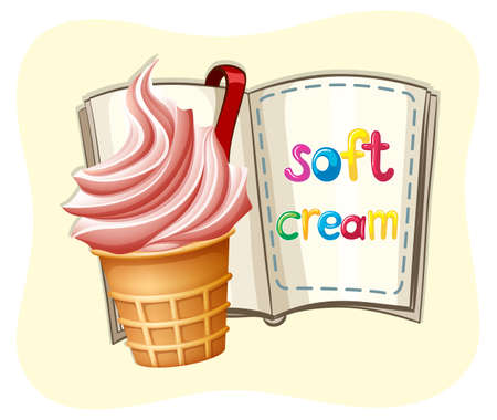 soft cream: Pink soft cream and a book illustration