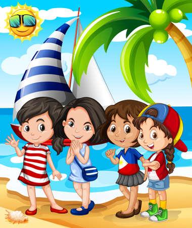 girls having fun: Girls having fun on the beach illustration