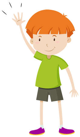 hand up: Little boy with his hand up illustration Illustration