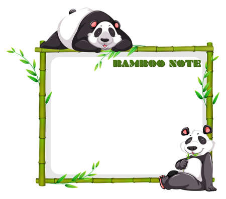 bamboo border: Border design with bamboo and panda illustration