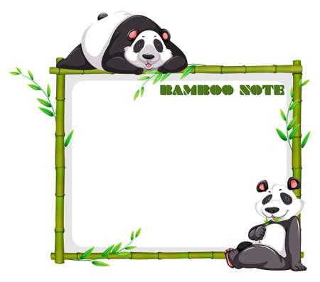 bambu: diseño de la frontera con el bambú y la panda de la ilustración Vectores