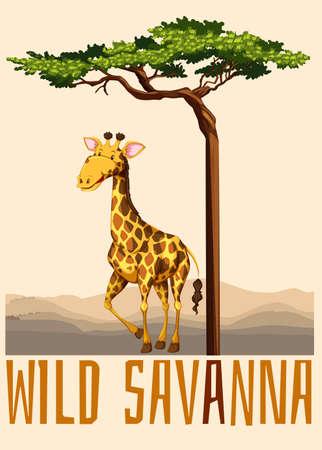 wild living: Wild savanna theme with giraffe illustration