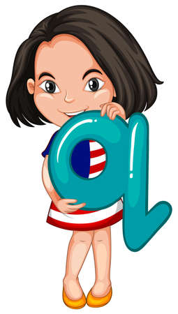 english ethnicity: Little girl holding letter Q illustration