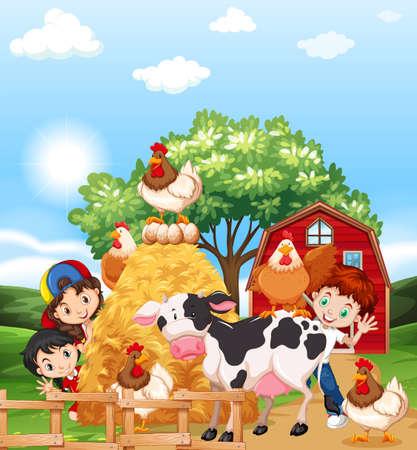 Kinderen en boerderijdieren illustratie