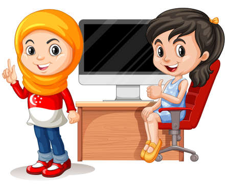 cartoon kid: Two girls working on computer illustration