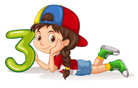 clip art numbers: Girl holding number three illustration