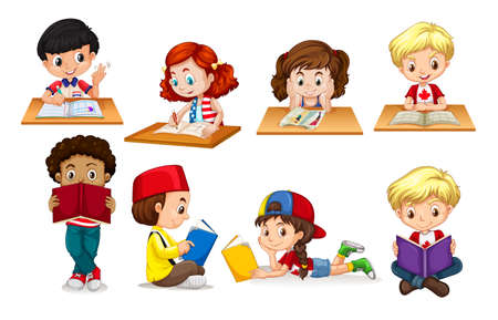 kids activities: Boy and girl reading and writing illustration Illustration