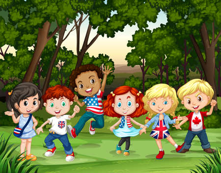jungle boy: Group of children in the forest illustration Illustration