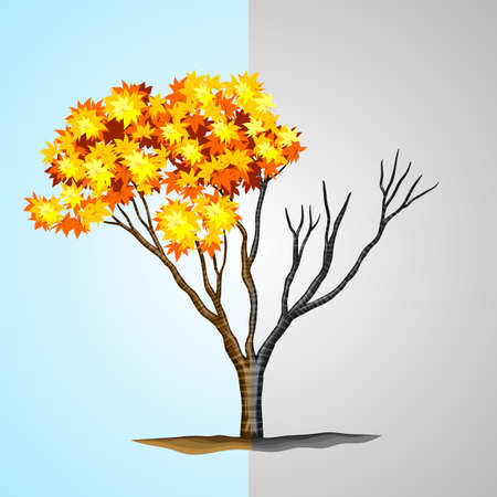 drought: Tree half with leaves and half without illustration