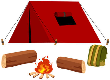 energy picture: Camping set with tent and fire illustration
