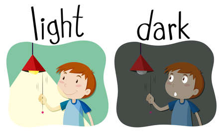 adjective: Opposite adjectives light and dark illustration