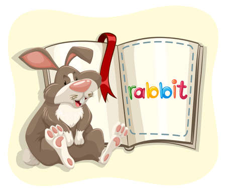cute graphic: Cute rabbit and a book illustration