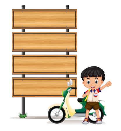 happy children: Thai boy and motorcycle by the roadsigns illustration