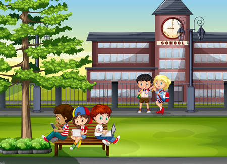 hanging out: Children hanging out at school illustration