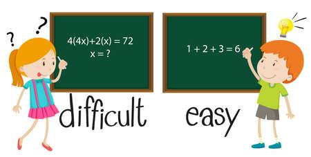 Opposite adjectives difficult and easy illustration Ilustração