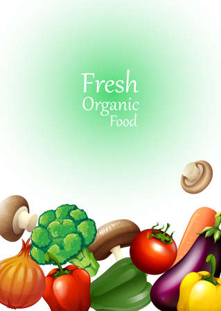 organic peppers sign: Poster design with fresh vegetables illustration