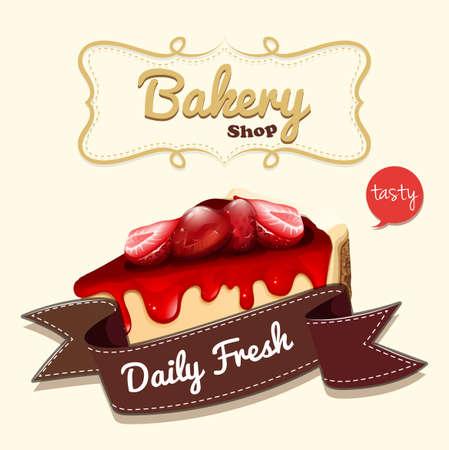 Strawberry cheesecake en banner illustratie