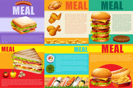 food clipart: Infographic healthy food and fastfood illustration