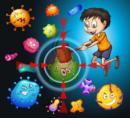 bacteria: Little boy fighting bacteria illustration Illustration
