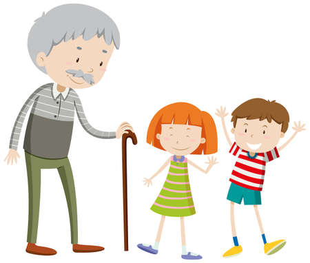 age old: Children and old man illustration Illustration