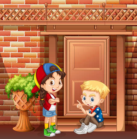 hanging out: Boy and girl hanging out in front of the house illustration