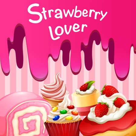 fruit clipart: Different desserts with strawberry flavor illustration