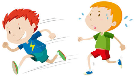 slow: Fast runner and slow runner illustration Illustration