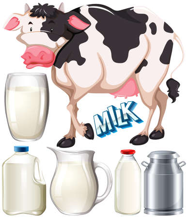 milk products: Dairy products with cow and fresh milk illustration