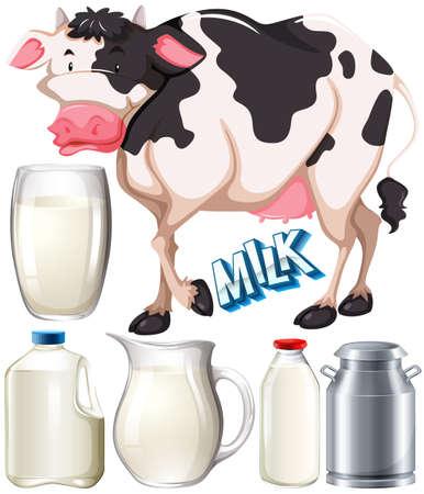 vaso de leche: Los productos lácteos con la vaca y de la ilustración leche fresca
