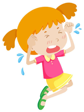 young girl: Little girl in pink crying illustration