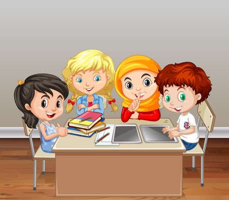 small group: Children working in group in classroom illustration