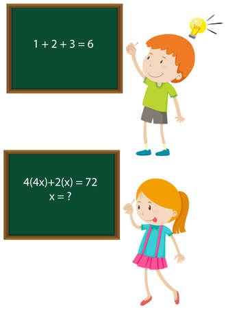numbers: Children solving math problems illustration