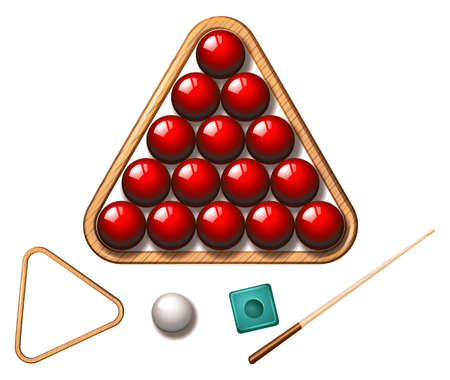 snooker: Snooker balls and stick illustration