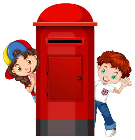 post box: Boy and girl behind the post box illustration
