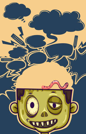 person thinking: Zombie with worm on his head illustration Illustration
