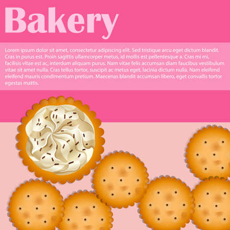 crackers: Bakery theme with crackers and text illustration