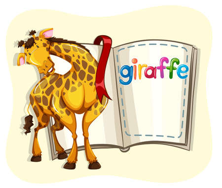giraffe cartoon: Big giraffe and a book illustration Illustration