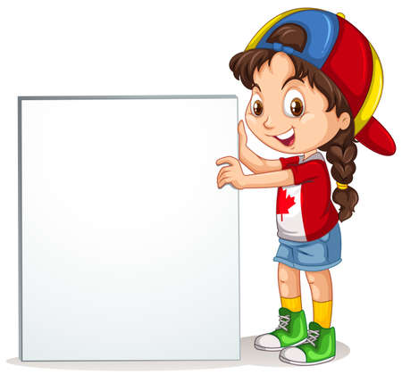 holding sign: Little girl holding sign illustration