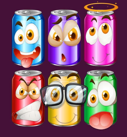 soda: Can with facial expressions illustration