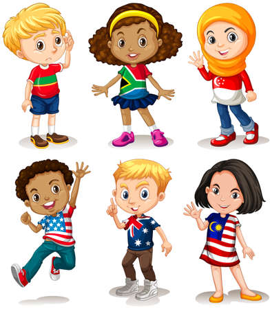 little boy and girl: Children from different countries illustration