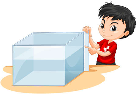 tank fish: Boy measuring water tank illustration Illustration