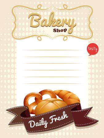 pain frais: La conception de papier de ligne avec du pain frais illustration